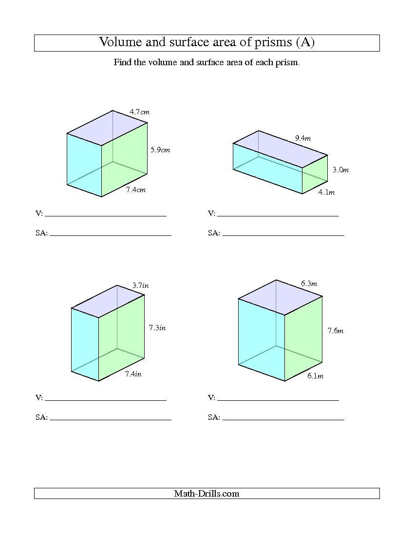 Volume And Surface Area Of A Rectangular Prism Worksheet – Rectangular Prism Surface Area Worksheet