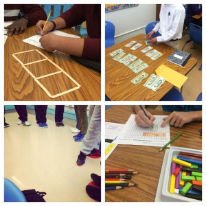 Some examples of my own implementation of manipulatives and movement in math class.