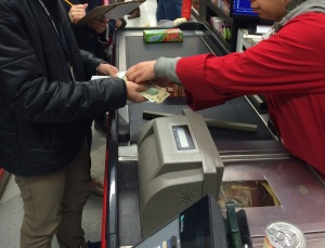Getting our change and receipt